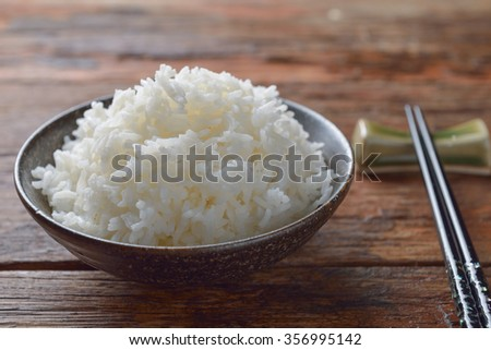 Bowl of Organic White Rice with chop sticks #356995142