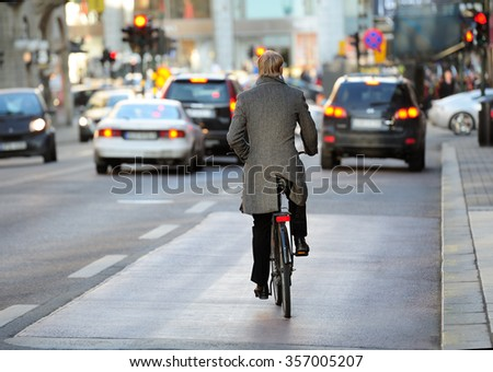 Rear view of bicyclist in full gear #357005207