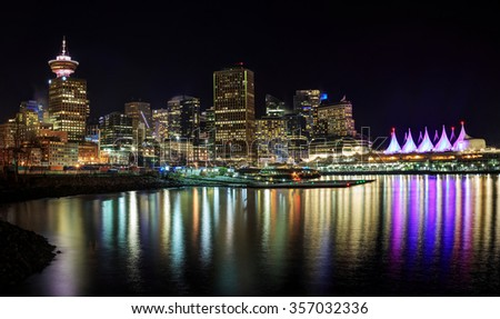 Night view of waterfront downtown Vancouver