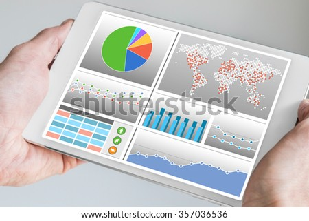 Business man holding tablet with dashboard in his hand. Dashboard displays KPIs and charts in order to monitor and control a company #357036536