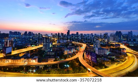 Bangkok, Thailand Jan 1 2016 : The first light of the year 2016 at the roof top of the building at Ratchaprarop #357072218