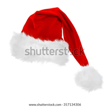 Santa Claus red hat isolated on white background, close up #357134306