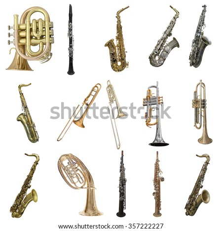 Wind musical instruments isolated under the white background Royalty-Free Stock Photo #357222227