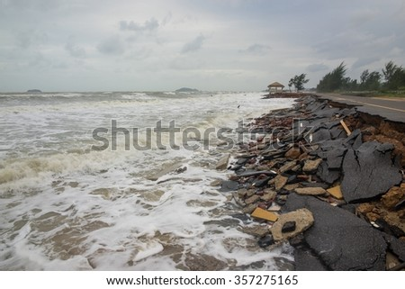 Road crash of waves and wind in rainy day #357275165