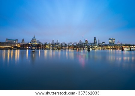 Panorama of London,Southwark bridge and St.Paul's cathedral viewed at sunrise
