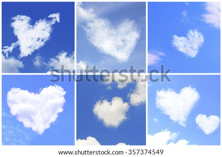 Collage of clouds in heart shaped #357374549