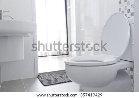 White toilet bowl in the bathroom. #357419429