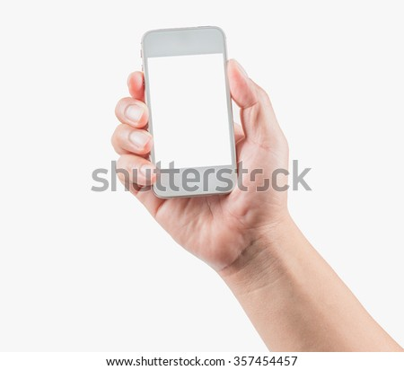 Hand holding smart phone on white background #357454457