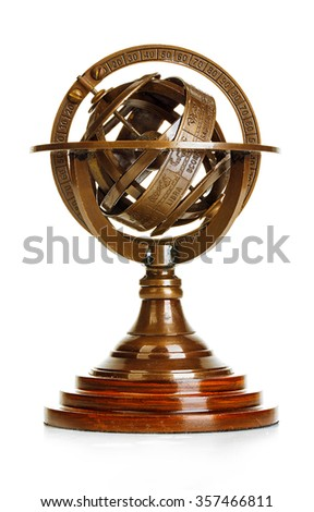 Old vintage brass model of the solar system isolated on white background. Astronomical device. Vintage gear. Royalty-Free Stock Photo #357466811