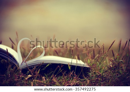 Close up heart shape from paper book on grass field with vintage filter blur background #357492275