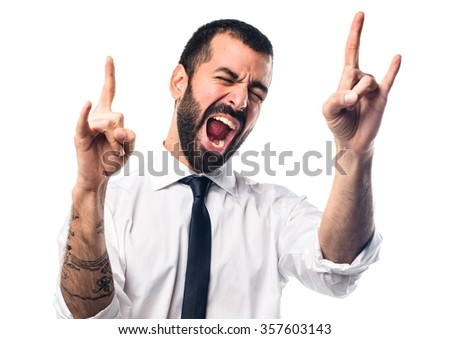 Businessman making gesture Royalty-Free Stock Photo #357603143