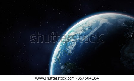 High Resolution Planet Earth view. The World Globe from Space in a star field showing the terrain and clouds. Elements of this image are furnished by NASA #357604184