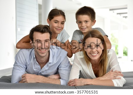 Portrait of happy family of four #357701531