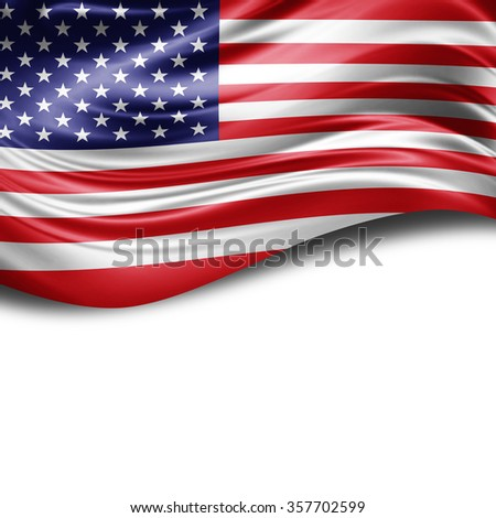 America flag of silk with copyspace for your text or images and White background #357702599