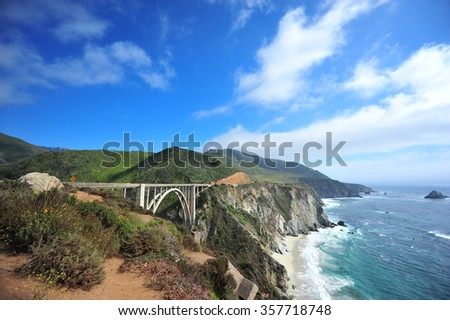 Roadtrip from Los Angeles to San Francisco on the Pacific Coast Highway! One of the most amazing trips ever! Bixby Creek Bridge in Big Sur! Royalty-Free Stock Photo #357718748