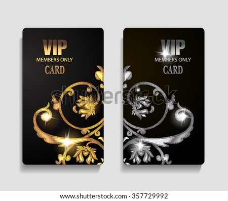 VIP cards with textured floral design elements #357729992