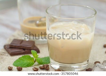 Cocktail with liqueur, cream and ice #357805046