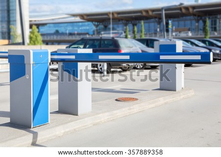 Barrier on the car parking #357889358