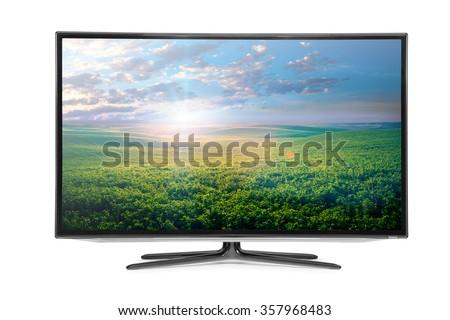 4k monitor isolated on white Royalty-Free Stock Photo #357968483