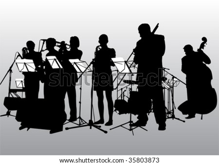 Vector drawing music jazz orchestra. People with musical instruments #35803873