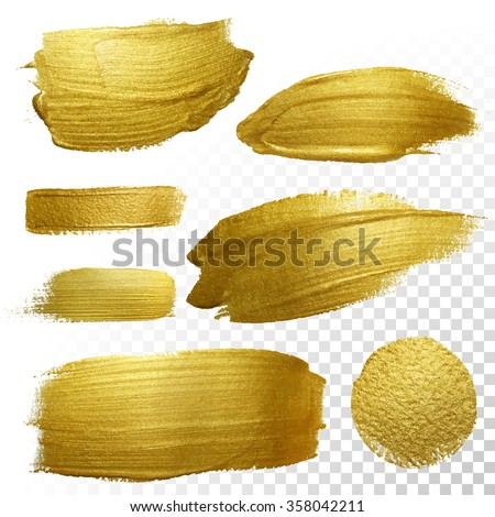 Vector gold paint smear stroke stain set. Abstract gold glittering textured art illustration. Abstract gold glittering textured art illustration. Royalty-Free Stock Photo #358042211