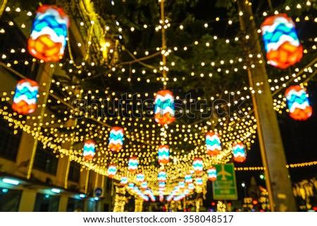 Light celebration decorative at Ratchadamnoen road in Bangkok Thailand #358048517