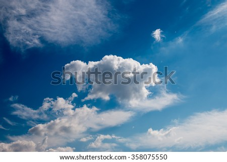 Deep blue sky and clouds #358075550