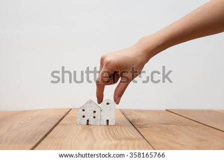 wood house and pick up hand #358165766