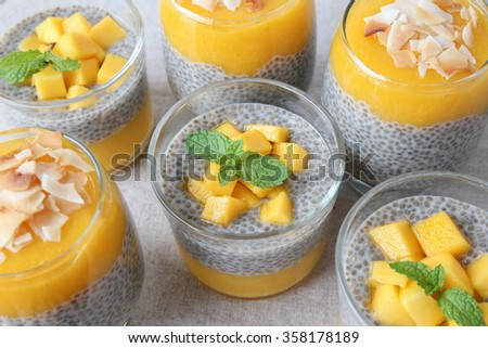 Homemade Chia seed pudding with mango, paleo, low carb diet #358178189