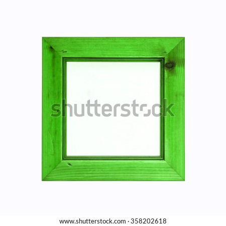 Bright green, square, wooden picture frame, for art design, isolated on white background.