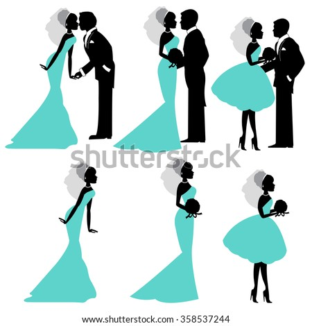 Illustration of bride and groom in silhouette vector format #358537244