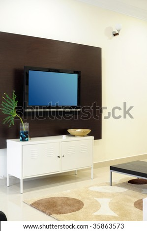 Living room with LCD television #35863573