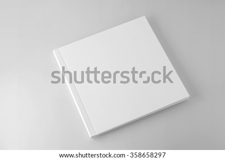 Blank square cover book template on gray background