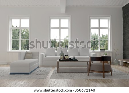 Light bright modern living room interior with three large windows above a comfortable sofa and day bed on a wooden parquet floor. 3d Rendering. #358672148