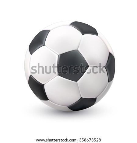Realistic classic soccer football ball white black image with light shadow reflection pictogram single object vector illustration  #358673528