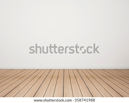 Oak wood floor with white wall #358741988