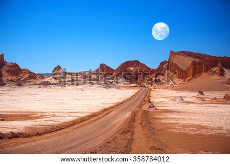 Amphitheatre is beautiful geological formation of Moon Valley in Atacama Desert, Chile Royalty-Free Stock Photo #358784012