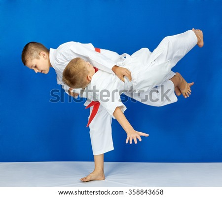 Two athletes train high throw #358843658