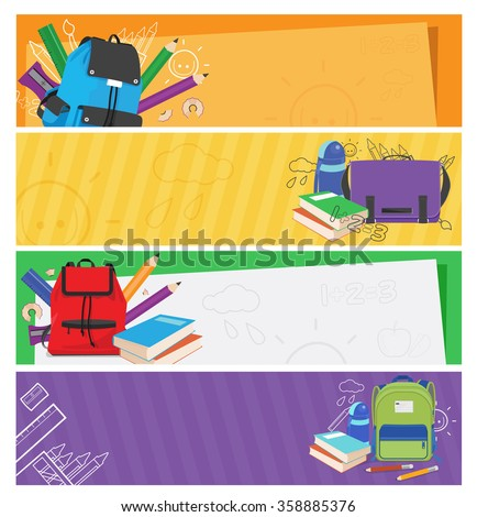 vector banner set of schoolbags,back to school concept ,colorful