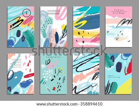 Set of artistic creative universal cards. Hand Drawn textures. Wedding, anniversary, birthday, Valentine's day, party. Design for poster, card, invitation, placard, brochure, flyer.  Vector. Isolated. #358894610