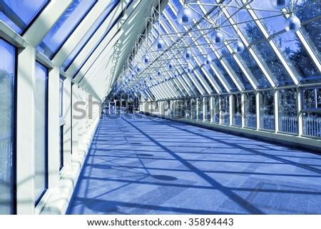 glass corridor inside the bridge #35894443