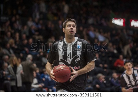 VALENCIA, SPAIN - JANUARY 6: Milenko Tepic during EUROCUP match between Valencia Basket and PAOK Thessaloniki at Fonteta Stadium on January 6, 2015 in Valencia, Spain #359111501