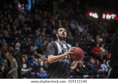 VALENCIA, SPAIN - JANUARY 6: Georgios Dedas during EUROCUP match between Valencia Basket and PAOK Thessaloniki at Fonteta Stadium on January 6, 2015 in Valencia, Spain #359111540