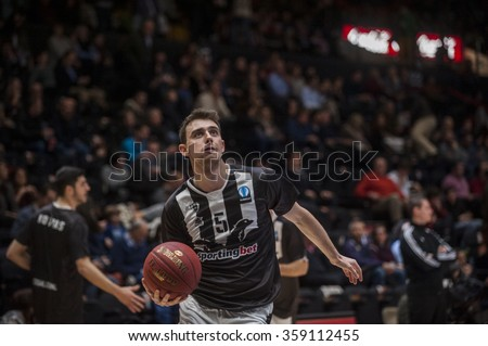 VALENCIA, SPAIN - JANUARY 6: Michail Liapis during EUROCUP match between Valencia Basket and PAOK Thessaloniki at Fonteta Stadium on January 6, 2015 in Valencia, Spain #359112455