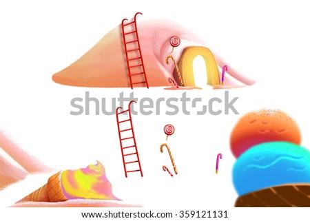 Clip Art Set: Ice cream Mountain. Realistic Fantastic Cartoon Style Artwork Scene, Wallpaper, Story Background, Card Design