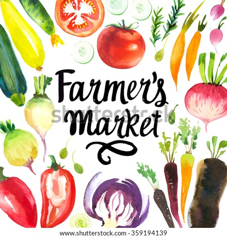 Illustration with watercolor food. Farmer's market. Set of different vegetables: artichokes, onions, shallots, leeks, peppers, cabbage, beets, carrots, zucchini, radish, capers. Fresh organic food.