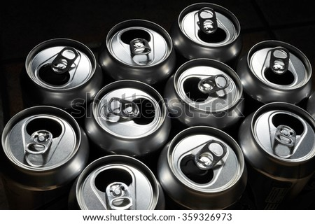 Empty aluminium drinks cans for recycling. #359326973