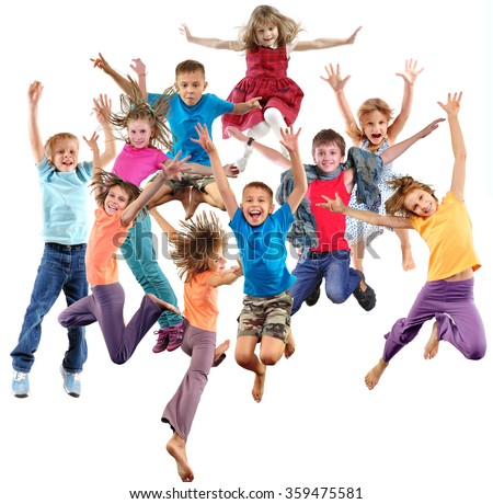 Large group of happy cheerful sportive children jumping, sporting and dancing. Isolated over white background. Childhood, freedom, happiness, active lifestyle concept. #359475581