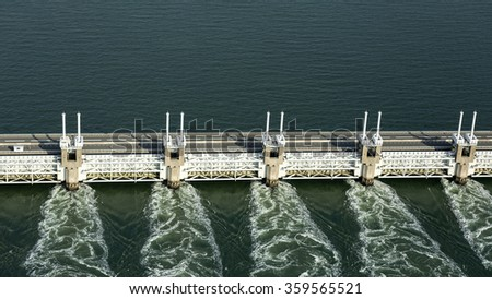 Aerial of the Oosterscheldekering, a storm surge barrier which is part of the delta works to protect Holland from high sea level #359565521