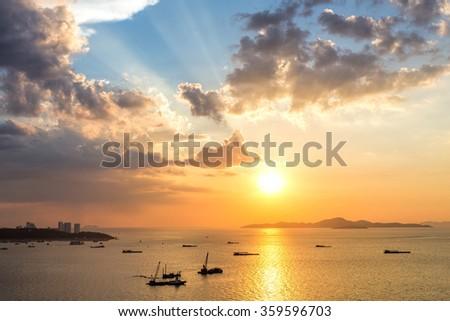 Colorful sunset at Pattaya bay ,Chonburi, Thailand from above.  #359596703